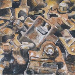 Bolzen&Schellen, 80x80 cm, 2011, Akryl auf Leinwand