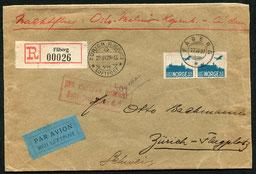 27.6.1929 Faberg, R-Brief nach Zürich für die Nachtpostlinie Oslo-Kopenhagen-Amsterdam vorgesehen, wurde jedoch über Berlin (rückseitig Transitstempel) geleitet und ging von dort mit AD ASTRA oder DLH in die Schweiz.