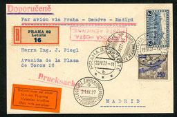 20.4.1927 Prag, R-Drucksachenkarte Prag-Marid im Transit von München (AD ASTRA/DLH) nach Zürich und via Genf -Marseille mit AD ASTRA/BALAIR/AIR UNION möglich.