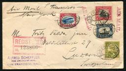 23.9.1925 San Francisco, früher R-Flugbeleg mit der 24c. Flugpostmarke der Ausgabe 1918 San Francisco-New York, und weiter per Schiff und Bahn in die Schweiz, rückseitig Transitstempel von new York und AKSt. von Luzern vom 5.10.1925.