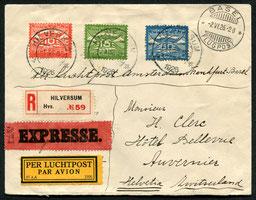 2.6.1926 Hilversum, R-Expressbrief mit Flugpostfrankatur für die Linie Amsterdam-Frankfurt-Basel der KLM die am 20.4.1926 eröffnet wurde.