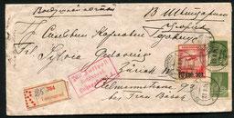 """23.9.1924, früher R-Beleg für die Linie Reval-Königsberg-Berlin mit JL/DAL, Weiterleitung via München-Zürich mit JL/AD ASTRA, rückseitig AKSt. """"Zürich 1.10.1924 Briefträger""""."""