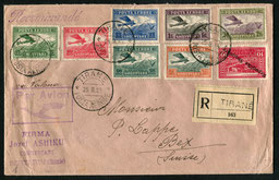 25.8.1925 Tirana, R-FLP-Brief der im Februar 1925 eröffneten Fluglinie Tirana-Valone des ADRIA AERO LLOYD, rückseitig Tansitstempel von Brindisi und Mailand sowie AKSt. von Bex, Schweiz 31.8.1925.