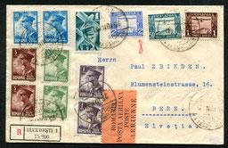 """26.6.1931 Bukarest, R-Beleg mit Flugpostfrankatur der CIDNA-Linie via Budapest-Wien und mit OELAG/DLH/SWISSAIR via München-Zürich möglich. Rückseitig AKSt. """"Bern l 27.6.1931""""."""