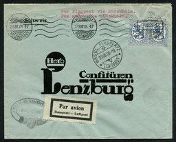 21.8.1928 Helsinki, Flugpostbeleg via Stockholm-Malmö-Kopenhagen-Frankfurt-Basel mit DLH. Die durchgehende Linie Genf-Kopenhagen wurde am 24.4.1928 eröffnet.