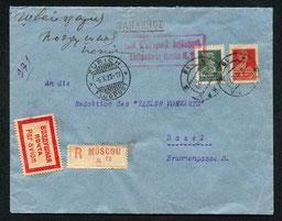 3.10.1927 Moskau, R-Beleg mit DERULUFT Moskau-Smolensk-Berlin und Berlin-Stuttgart-Zürich mit DLH/AD ASTRA