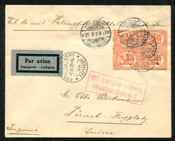 1.6.1929 Helsinki, Brief mit Leitvermerk für Nachtpostflug via Stockholm-Amsterdam, jedoch via Malmö-Berlin befördert. Rückseitig Transitstempel von Berlin, per DLH/AD ASTRA nach Zürich weitergeleitet.
