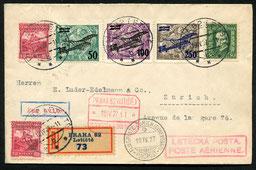 19.4.1927 Prag, R-erstflugbeleg der DLH/CLS-Linie Prag-München- und Wiedereröffnung Sommerflugplan der AD ASTRA ab München bis Zürich.