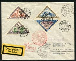 10.5.1933 Klaipeda, R-FLP Beleg Kaunas-Königsberg-Berlin undin die Schweiz via Basel nach Bern. Flugpostfrankatur Serie ungezähnt.