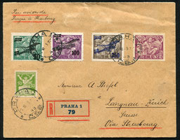2.6.1923 Prag, R-Beleg mit Flugpostfrankatur und Inhalt der CFRNA-Linie Prag-Strassburg-Paris (seit 1920), rückseitig AKSt. von Langnau, keine weitere Transitstempel vorhanden.
