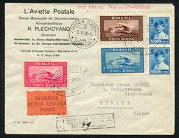23.9.1928 Bukarest, R-Beleg Bukarest-Wien-Zürich mit CIDNA/BALAIR, AKSt. Zürich 4.10.1928