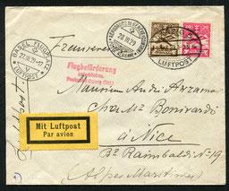 """27.3.1929 Danzig, Flugpostfrankatur, im Transit durch die Schweiz nach Frankreich. Ab Berlin mit DLH via Stuttgart-Genf-Marseille (diese Linie bestand seit 1928), rückseitig Stempel """"Berlin CL 2"""""""