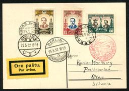25.5.1932 Kaunas, Flugpostfrankatur Kaunas-Berlin-Schweiz mit DERULUFT/DLH/AD ASTRA.