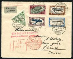 18.9.1934 Riga, R-Beleg mit Flugpostserie ungezähnt, bis Frankfurt gleiche Flugstrecke wie links, dann über Stuttgart mit DLH/SWISSAIR ach Zürich möglich.