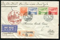 """19.9.1934 Yokohama, R-beleg ab Yokohama per Schiff nach USA (rückseitig Transitstempel SEATTLE 1.10.1934) per Flugpost bis New York und mit Schiff und Bahn in die Schweiz, AKSt. """"Bulle 10.10.1934-20""""."""