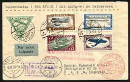 7.9.1933 Riga, Ersttag der Flugposserie gezähnt, auf R-Beleg Riga-Königsberg-Berlin/ DERULUFT-Framkfurt/DLH-Basel/SWISSAIR und bis Bern mit ALPAR.