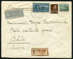 """31.3.1939 Tirana, R-FLP-Brief Shkoder-Tirana-Bari weiter per Bahn bis Basel, rückseitige Transitstempel von Tirana und wie Bahnpoststempel """"Amb. Lecce-Brindisi""""."""