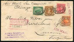 23.9.1925 San Francisco, R-Flugbeleg mit der 16 c. Flugpostmarke der Ausgabe 1918 San Francisco-New York, und weiter per Schiff und Bahn in die Schweiz, rückseitig AKSt. Luzern vom 5.10.1925.