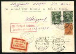 13.9.1930 Moskau, Für die Zeppelin-Russlandfahrt in Moskau zu spät eingetroffene Karte. Mit DERULUFT/DLH/AD ASTRA via Berlin nach Zürich und mit BALAIR bis St. Gallen.