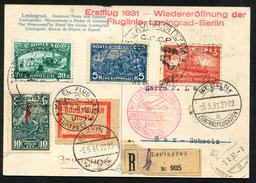 5.5.1931 Leningrad, R-Karte Leningrad-Berlin-Zürich mit DERULUFT/DLH/AD ASTRA, der grosse Sonderstempel von Leningrad wurde erstmals am 19.9.1930 zum Erstflug der gleichen Fluglinie verwendet.
