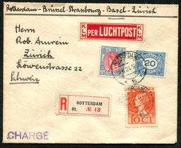 8.8.1924 Rotterdam, R-Beleg Rotterdam-Brüssel-Basel mit SABENA (erste Postmitnahme ab Rotterdam ab 15.7.24 möglich) das entgegen der KLM-Etikette, rückseitig AKSt. von Zürich.