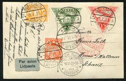 9.7.1931 Riga, Karte ab Riga über Königsberg nach Berlin mit DERULUFT, ab dort mit der am 1.5.1931 eröffneten SWISSAIR oder mit der DLH, deren Linie schon länger bestand.
