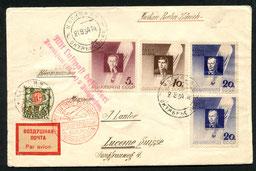 """21.9.1934 Moskau, nachtaxierter Beleg ab Moskau-Berlin-Frankfurt-Zürich mit DERULUFT/DLH/SWISSAIR, Umlad in Berlin und Frankfurt, was die rückseitigen Transitstempel """"Berlin C 2"""" und """"Frankfurt Flughafen"""" belegen. Entgegen dem Handvermerk wurde der Brief"""