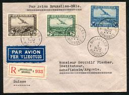 3.10.1932 Brüssel, R-Flugpostfrankatur Brüssel-Schweiz via Köln mit SABENA/DLH bis Basel, rückseitig AKSt. von Schafisheim.