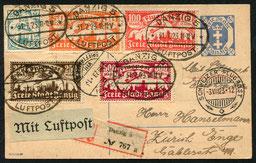 """31.7.1923 Danzig, R-Karte mit portogerechter Inflationsfrankatur, Danzig-Berlin mit DAL, Berlin-München mit JUNKERS-LUFTVERKEHR, München-Zürich mit AD ASTRA, Transit-, respektive AKSt. von """"Berlin Luftpost""""."""