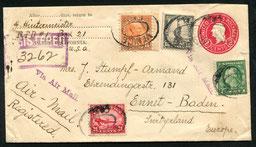 15.12.1926 Palms, R-Beleg der gleichen Fluglinie mit der 24 c. Flugpostmarke von 1923, rückseitig Transitstemmpel von New York vom 18.12.1926.