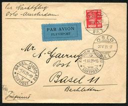 31.5.1929 Oslo, erster Nachtpost-Versuchsflug Oslo-Kopenhagen-Amsterdam mit ABA/KLM, Amsterdam-Stuttgart-Zürich mit DLH/AD ASTRA und Zürich-Basel mit BALAIR/AD ASTRA möglich.