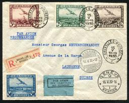 15.5.1930 Brüssel, R-Brief von Brüssel nach Lausanne geleitet 16.5.30-12 dann nach Genf 16.5.30-16 und wieder zurück, rückseitig mit Stempel Lausanne 16.5.30-17.