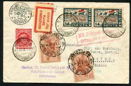 """10.8.1930  Moskau, R-Beleg mit DERULUFT Moskau-Smolensk-Berlin und Berlin-Stuttgart-Zürich mit DLH/AD ASTRA. Rückseitig Transitstempel von Berlin """"Berlin C L 2"""" (Tempelhof)."""