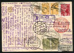 10.6.1934 Leningrad, R-Flugkarte Leningrad-Berlin-Basel mit dem seit 1930 benützten grossen Sonderstempel für die DERULUFT-Linie Leningrad-Berlin, alle Stempel vorderseitig.