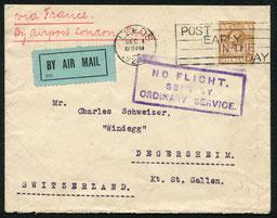 """1.12.1922 Leeds, Brief ab London für die schon bestehende Fluglinie der HANDLEY PAGE nach Paris mit Ausfallstempel """"NO FLIGHT"""" Eine durchgehende Fluglinie für die Schweiz bestnad erst im August 1923."""