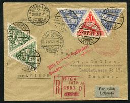 22.7.1931 Riga, Linie Riga-Königsberg-Berlin mit DERULUFT und weiter mit DLH/SWISSAIR via Frankfurt-Basel bis St. Gallen.