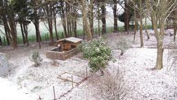 cabane à furets et jardin sus la neige chambres d'hôtes de ker holen à saint-lyphard