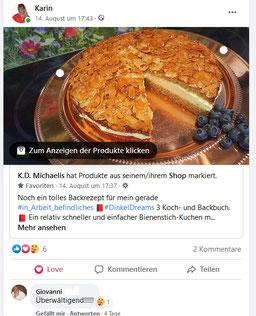 Facebook-Kommentar von Testesser Giovanni zum Bienenstich-Kuchen für Dinkel-Dreams 3 von K.D. Michaelis