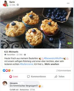 Facebook-Kommentar von Testesser Giovanni zu den Bienenstich-Muffins für Dinkel-Dreams 3 von K.D. Michaelis