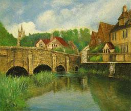 イギリスの小さな村の風景 ( 油彩 )
