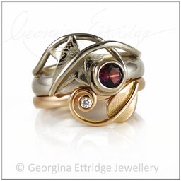 Oak & Leaf Ring Bridal Set - Diamonds & Spinel