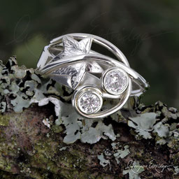 Ivy Leaf & Curled Tendril Ring'Infinity' Mobius Ring - Two Diamonds