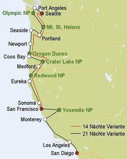 Mietwagenreise von Seattle nach San Francisco oder San Diego