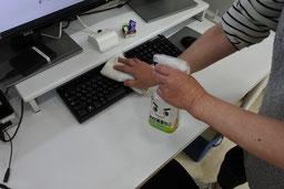 パソコン周りの除菌作業