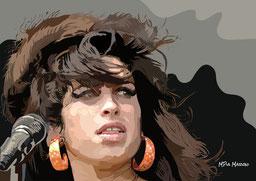 disegno-drawing-ritratto-portrait-digital-art-Amy Winehouse-concerto-primo piano-capelli-mossi-sguardo-intenso