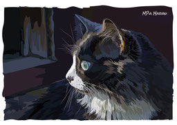 index-image-ritratto-gatto-portrait-cat-pittura-digitale-disegno-vettoriale-illustrazione-realistica-digital art-gatto-luce-notturna-pelo-lungo-profilo-primo-piano-sguardo-intenso
