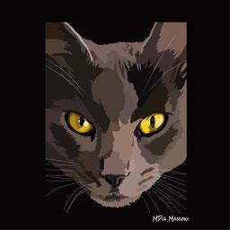 disegno-drawing-gatto-nero-cat-black-occhi-gialli-penetranti-digital-art-vectorial-illustration