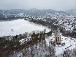 Burschenschaftsdenkmal Eisenach  Winter Schnee Stadt Thüringen
