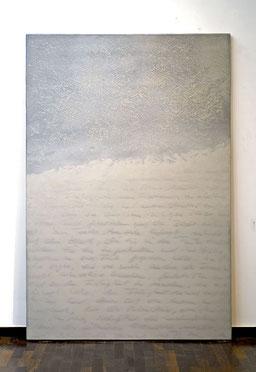 vor der Erstarrung 2016 Kunstharz, Steinmehl, Acrylfarbe,  Ölfarbe auf Leinwand 210 x 140 cm