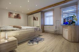 Das Schlafzimmer der Ferienwohnung in Bad Harzburg
